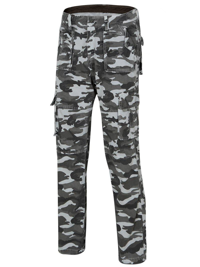 Men's Camo Straight Legs Cargo Pants - GRAY 34