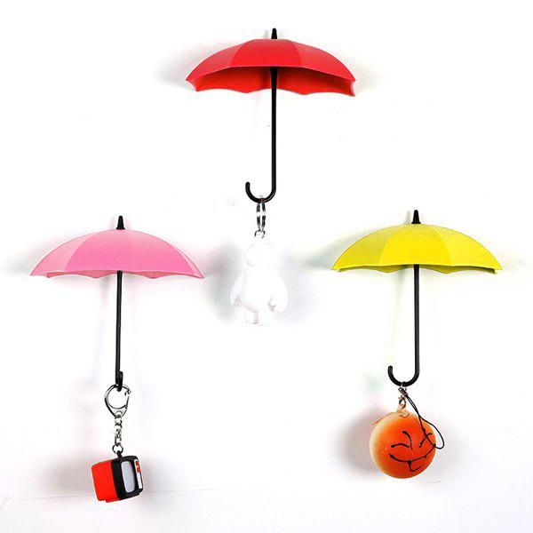 Creative Free Nail Glue 3 Color/Set Umbrella Shape Wall Hooks - COLORMIX