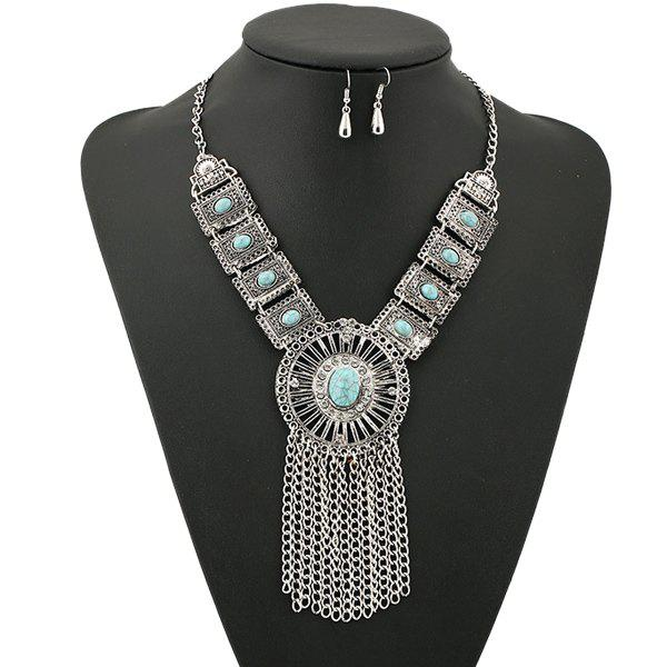 A Suit of Gorgeous Rhinestone Faux Turquoise Necklace and Earrings For Women
