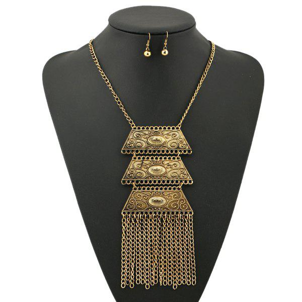 A Suit of Engraved Geometric Necklace and Earrings - GOLDEN