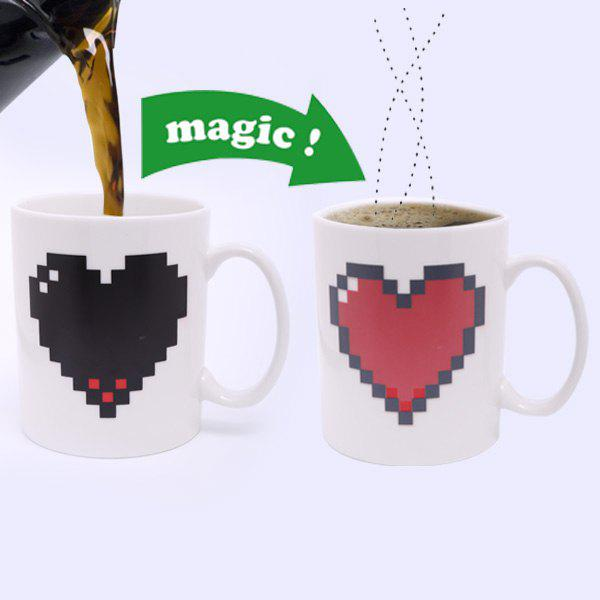 Creative Heart Pattern Ceramic Heat Reactive DIY Color Changing Mug For Gifts - WHITE