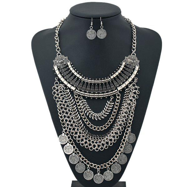 A Suit of Coins Alloy Necklace and Earrings - SILVER
