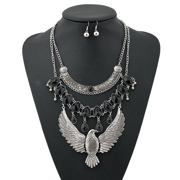 A Suit of Punk Layered Water Drop Eagle Necklace and Earrings - SILVER