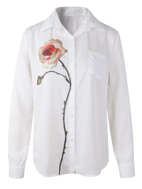 Long Sleeve Rose Print Shirt