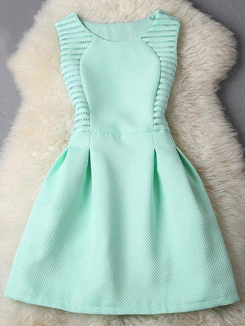 Sleeveless Pleated Pure Color Fit and Flare Dress - TIFFANY BLUE S