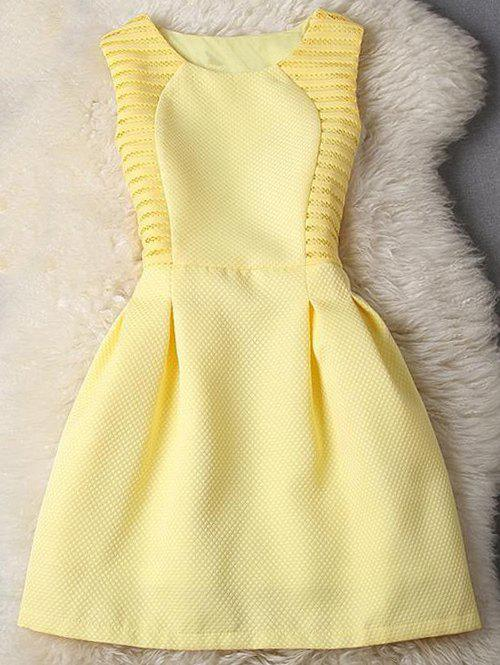 Sleeveless Pleated Pure Color Fit and Flare Dress - YELLOW S