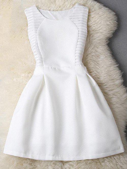 Sleeveless Pleated Pure Color Fit and Flare Dress - WHITE XL
