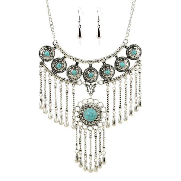 A Suit of Faux Turquoise Water Drop Round Necklace and Earrings - SILVER/BLUE
