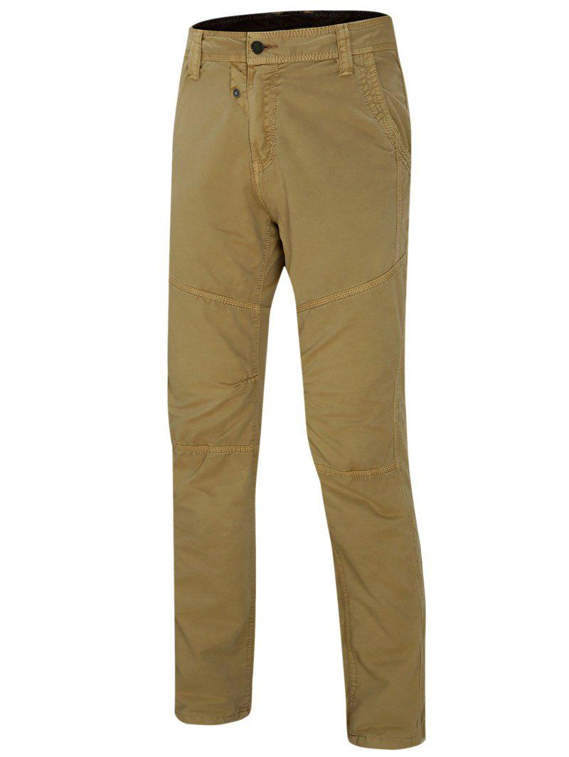 Men's Zipper Design Straight Leg Solid Color Pants - KHAKI 30