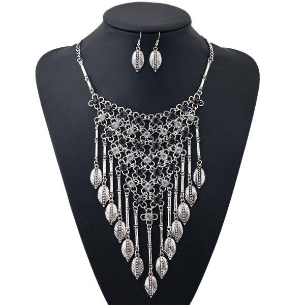 A Suit of Rhinestone Leaf Triangle Necklace and Earrings - SILVER/BLACK