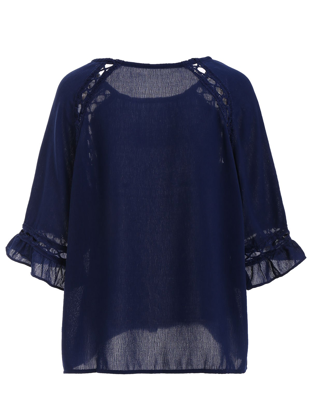 Chic Plus Size Cut Out Blouse For Women - DEEP BLUE 3XL