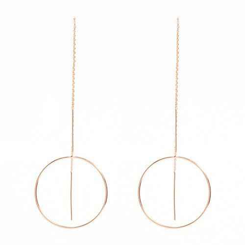 Pair of Big Circle Hollow Out Bar Tassel Earrings - GOLDEN