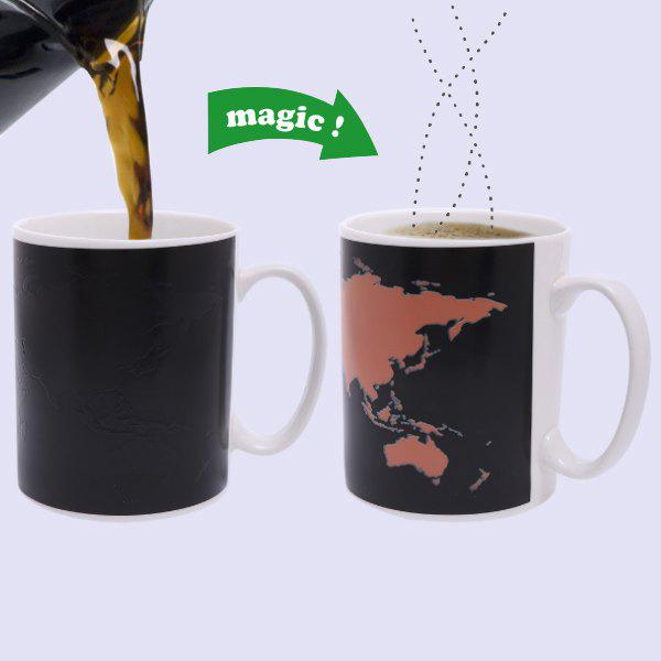 Creative The World Map Pattern Ceramic Heat Sensitive DIY Color Changing Mug For Gifts - BLACK