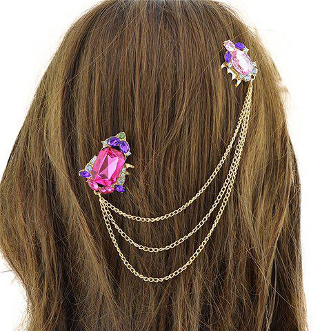 Chic Rhinestone Chains Hair Comb For Women - GOLDEN
