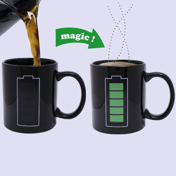 Creative Charging Pattern Ceramic Heat Sensitive DIY Color Changing Mug For Gifts