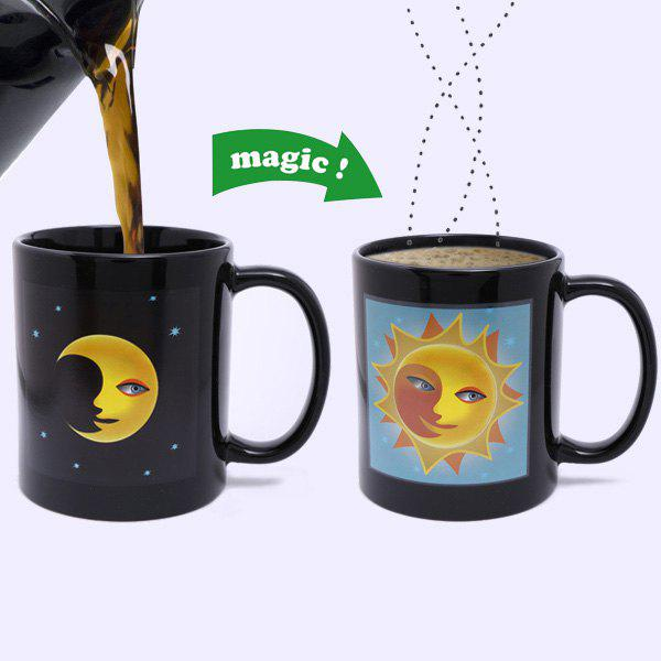 Creative Sun Moon Pattern Ceramic Heat Sensitive DIY Color Changing Mug For Gifts - BLACK