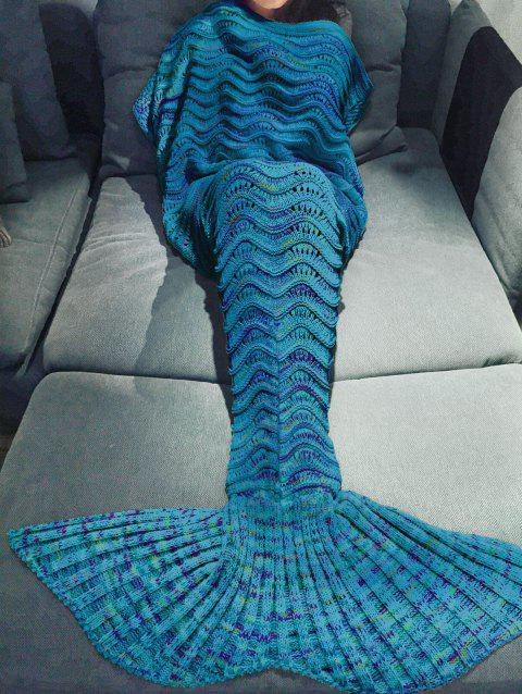 Handmade Knitted Mermaid Tail Design Blanket - BLUE