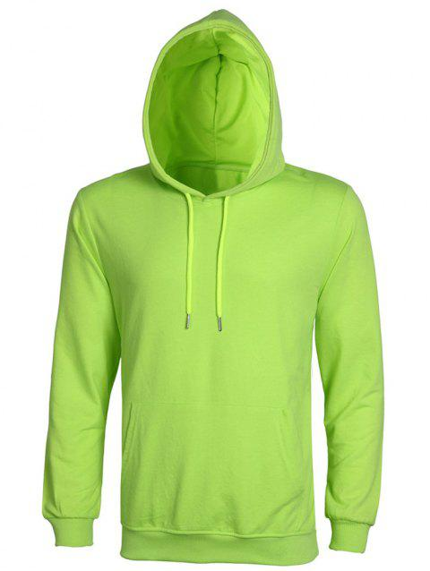 Casual Solid Color Ribbed Hem Long Sleeves Hoodie For Men - APPLE GREEN XL