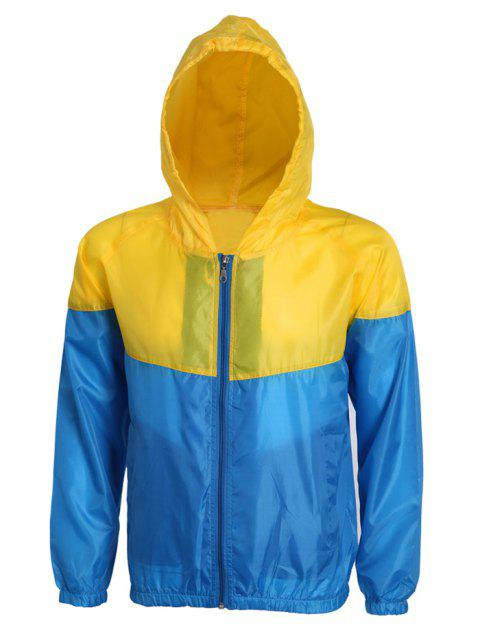 Active Hit Color Zip Opening Hooded Thin Jacket For Men - BLUE/YELLOW S
