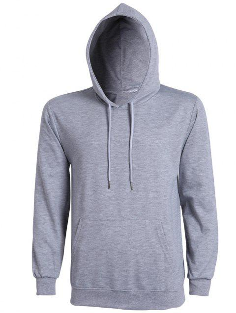 Casual Solid Color Ribbed Hem Long Sleeves Hoodie For Men - GRAY L