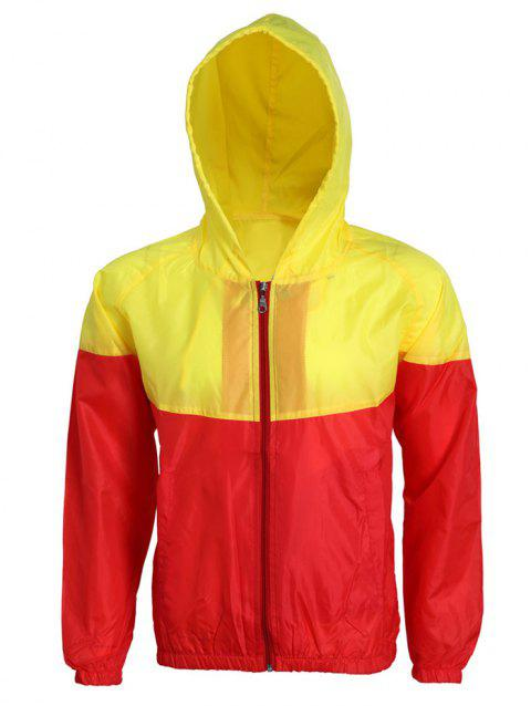 Active Hit Color Zip Opening Hooded Thin Jacket For Men - YELLOW/RED S