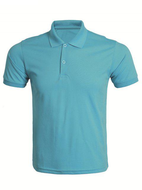 Solid Color Turn-Down Collar Men's T-Shirt - LAKE BLUE M