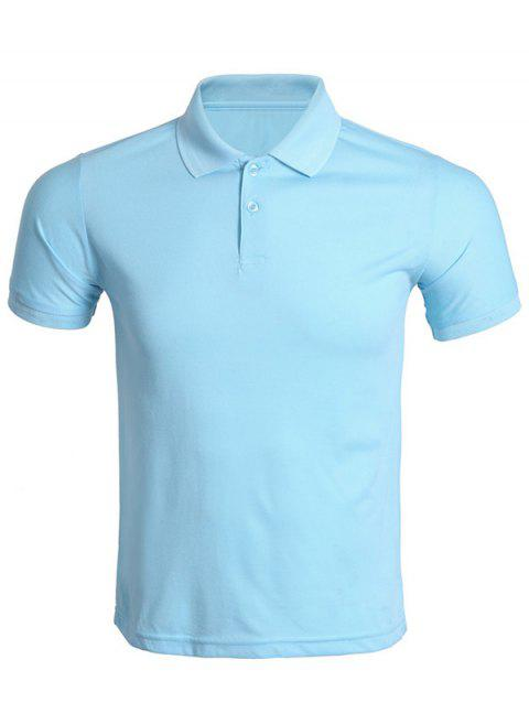 Solid Color Turn-Down Collar Men's T-Shirt - AZURE 3XL