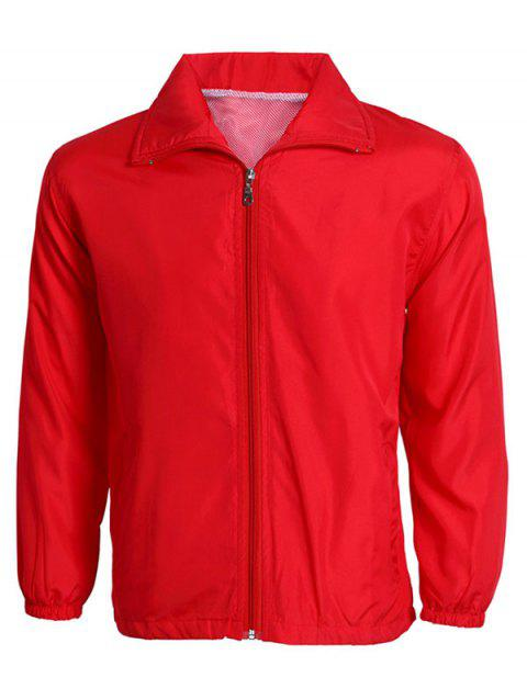 Zip-Up Turn-Down Collar Long Sleeve Solid Color Men's Jacket - RED 2XL