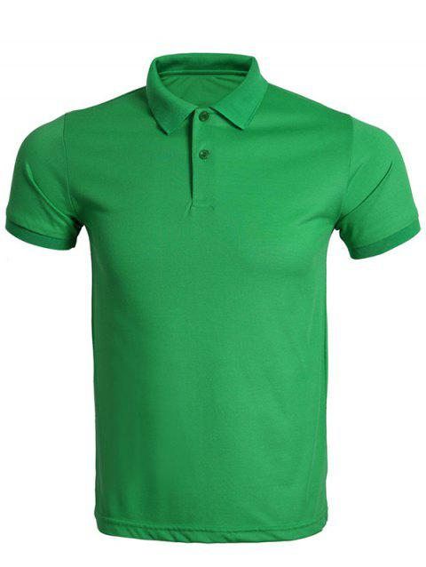 Solid Color Turn-Down Collar Men's T-Shirt - GREEN M