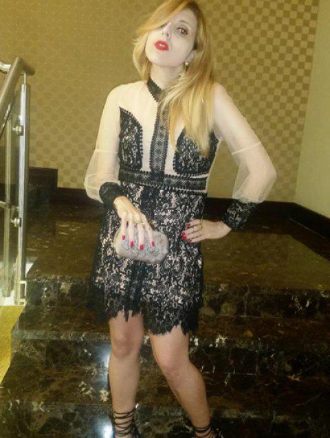 Women's Alluring Stand Collar See-Through Lace Dress - BLACK S