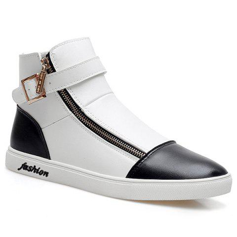 Stylish Buckle and Double Zipper Design Men's Casual Shoes - WHITE/BLACK 43