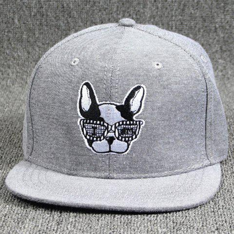 c6443f70e3980 Cool Summer Modern Spectacled Small Dog Head Embroidery Baseball Cap For  Women - GRAY
