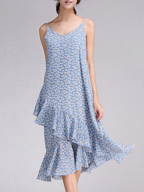 Floral Print Frilly Cami Dress - AZURE S