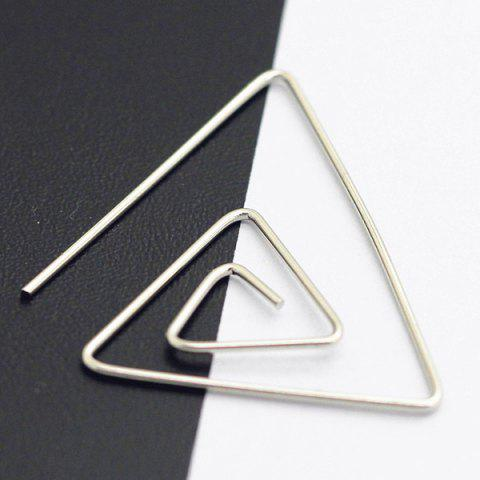 Hollowed Spiral Triangle Earrings - SILVER