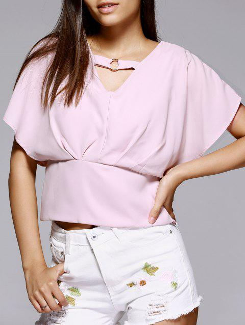 Stylish V-Neck Butterfly Sleeve Blouse For Women - PINK ONE SIZE