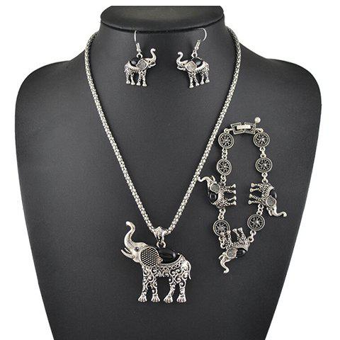 A Suit of Faux Gem Elephant Necklace Bracelet and Earrings - BLACK