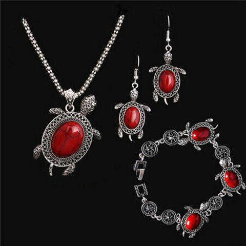A Suit of Fake Gemstone Tortoise Jewelry Set - RED