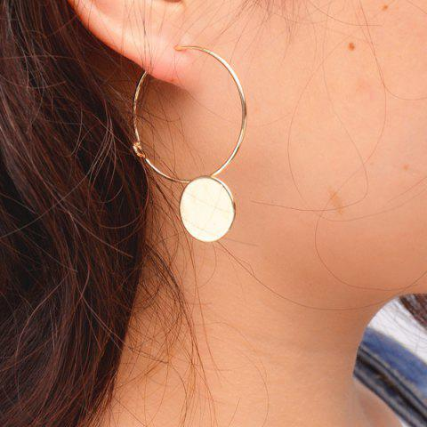 Pair of Disc Hollow Out Circle Earrings - GOLDEN
