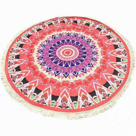Bohemian Tassel Fringing Tribal Geometric Totem Yoga Mat Gypsy Cotton Tablecloth Red Round Beach Throw - RED