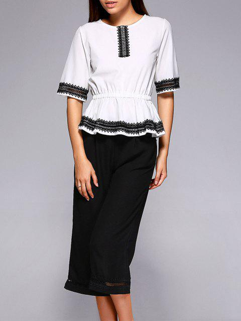Chic Laciness Blouse + Cropped Pants Twinset For Women - WHITE/BLACK M