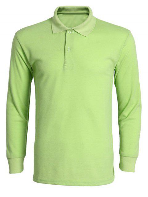 Solid Color Turn-Down Collar Long Sleeve Men's T-Shirt - APPLE GREEN M