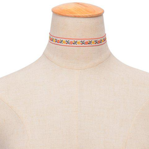 Embroidered Floral Choker - WHITE
