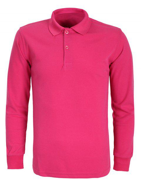 Solid Color Turn-Down Collar Long Sleeve Men's T-Shirt - ROSE RED L