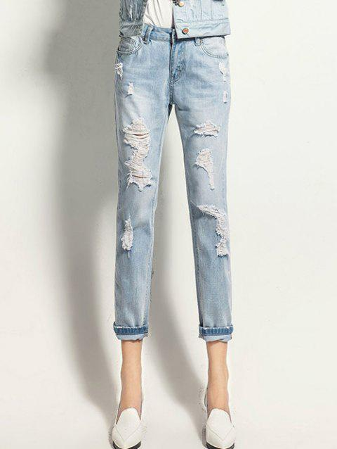 Button Fly Ripped Design Ninth Length Jeans - LIGHT BLUE 28