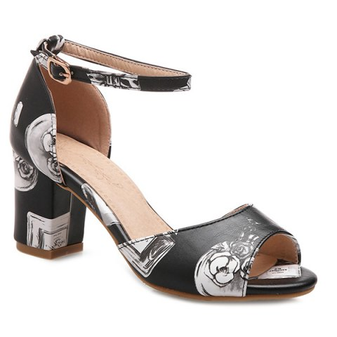 b3442cab5 Trendy Ankle Strap and Perfume Bottle Printed Design Women s Sandals -  BLACK 38