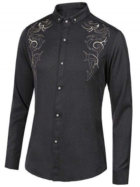 Turn-Down Collar Floral Embroidery Long Sleeve Button-Down Men's Shirt - BLACK L
