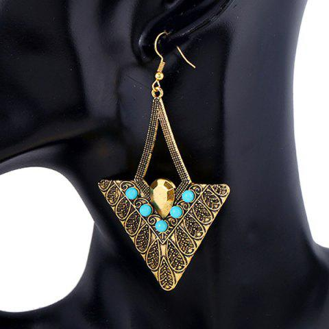Pair of Embossed Alloy Beads Triangle Earrings - GOLDEN