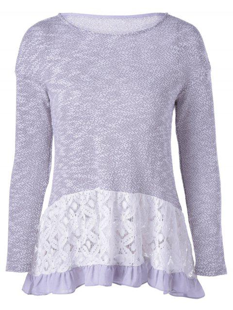 Casual Women's Long Sleeves Scoop Neck Lace Splicing Flounce T-Shirt - BLUE GRAY L