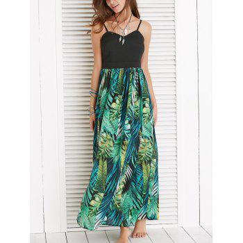 Alluring Spaghetti Strap Leaf Print Dress