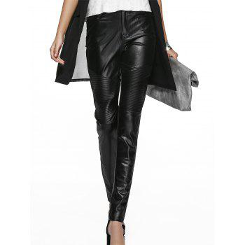 Chic Pocket Design Faux Leather Pure Color Women's Pants